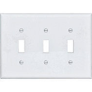 Cooper Wiring PJ3W 3 Gang 3 Toggle Wall Plate White