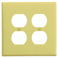 Cooper Wiring PJ82V 2 Gang Mid Size 2 Duplex Receptacle Plate Ivory