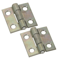 National Hardware S751-500 N227-223 N145-920 Stanley Non-Removable Fixed Pin Narrow Hinges 1 By 1 Inch Zinc Plated Steel 2 Pack