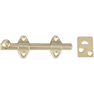 National Hardware S763-550 N236-342 Stanley Surface Bolt 4 Inch Satin Brass Plated Steel