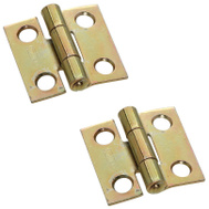 National Hardware S802-000 N145-946 Stanley Non-Removable Fixed Pin Narrow Hinges 1 By 1 Inch Brass Finish Steel 2 Pack