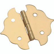 National Hardware S803-410 Stanley Ornamental Cabinet Hinges 1-1/8 By 1-1/8 Inch Bright Solid Brass 2 Pack
