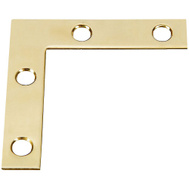National Hardware S803-830 Stanley Flat Corner Iron Braces 2 Inch By 3/8 Inch Bright Solid Brass 4 Pack