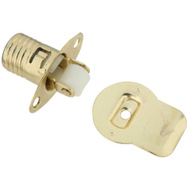National Hardware S800-100 S762-260 Stanley Small Drive In Roller Catch For 1-1/8 And Thicker Doors Bright Brass Plated