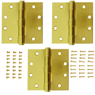 National Hardware S050-043 S820-696 Stanley Commercial Door Hinges 4-1/2 Inch Square Corner Polished Brass 3 Pack