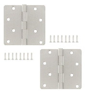 National Hardware S083-360 S821-462 Stanley 4 Inch 1/4 Radius Door Hinges Satin Chrome 2 Pack