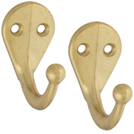 National Hardware S819-080 Stanley Basic Single Ball End Robe Hooks Bright Brass 2 Pack