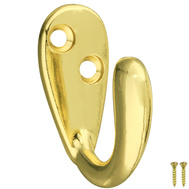 National Hardware S819-081 S806-463 N830-141 Stanley Basic Single Contoured Robe Hook Bright Brass