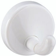 National Hardware S752-015 Stanley Heavy Duty Robe Hooks 1-1/2 Inch Diameter White Plastic 2 Pack