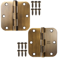 National Hardware S082-488 Stanley Door Hinges 3-1/2 Inch 5/8 Radius Antique Brass 2 Pack