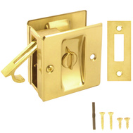 National Hardware S404-010 S04-009 N216-077 Stanley Privacy Knotched Pocket Door Latch Solid Brass Bright Brass