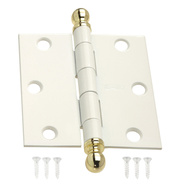 National Hardware S690-738 Stanley 3 Inch White And Bright Solid Brass Square Corner Ball Tip Door Hinge