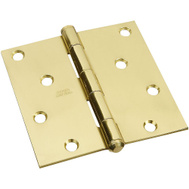National Hardware S800-115 Stanley Door Hinge 4 Inch Square Corner Bright Solid Brass