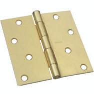 National Hardware S690-293 N830-231 N176-644 Stanley Door Hinge 4 Inch Square Corner Satin Brass