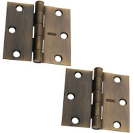 National Hardware S081-285 Stanley Door Hinges 3 Inch Square Corner Antique Brass 2 Pack