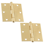 National Hardware S083-800 Stanley Door Hinges 3-1/2 Inch Square Corner Bright Solid Brass 2 Pack