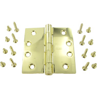 National Hardware S050-652 Stanley Commercial Door Hinge 4 Inch Square Corner Polished Brass