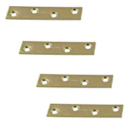 National Hardware S802-101 Stanley 3 Inch Steel Mending Plate With Satin Brass Tone 4 Pack