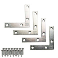 National Hardware S756-761 N113-928 N226-712 Stanley Flat Corner Iron Braces 2-1/2 By 1/2 By 0.07 Inch Zinc Plated Steel 4 Pack