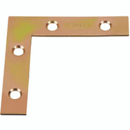 National Hardware S802-311 Stanley Flat Corner Iron Braces 2-1/2 By 1/2 By 0.07 Inch Brass Finish Steel 4 Pack