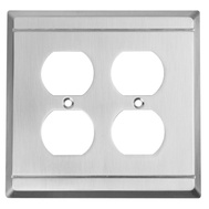 National Hardware S803-031 Stanley Franklin Double Duplex Wall Plate Satin Nickel