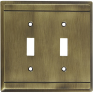 National Hardware S803-122 Stanley Franklin Double Switch Wall Plate Antique Brass
