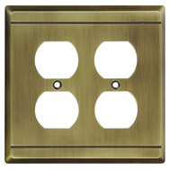National Hardware S803-148 Stanley Franklin Double Duplex Wall Plate Antique Brass