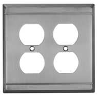 National Hardware S803-239 Stanley Franklin Double Duplex Wall Plate Antique Pewter