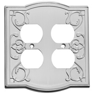 National Hardware S803-544 Stanley Victoria Double Duplex Wall Plate Satin Nickel