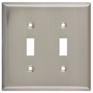 National Hardware S805-952 Stanley Double Switch Wall Plate Satin Nickel Plated Steel