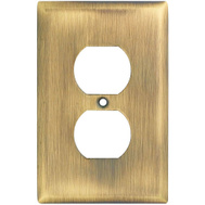 National Hardware S806-034 Stanley Basic Single Duplex Wall Plate Antique Brass