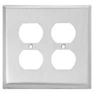National Hardware S806-182 Stanley Basic Double Outlet Wall Plate Satin Nickel