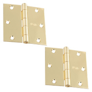 National Hardware S807-743 S081-060 Stanley 3 Inch Square Corner Door Hinges Polished Brass 2 Pack