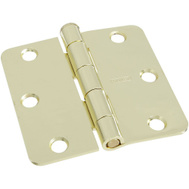 National Hardware S807-875 Stanley 3 Inch 1/4 Radius Door Hinges Polished Brass 2 Pack
