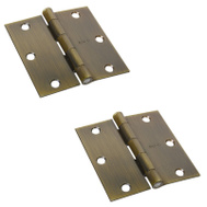 National Hardware S808-030 N176-636 S082-761 N142-901 Stanley 3-1/2 Inch Square Corner Door Hinges Antique Brass 2 Pack