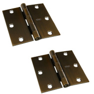 National Hardware S808-048 Stanley 3-1/2 Inch Square Corner Door Hinges Antique Bronze 2 Pack