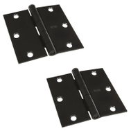 National Hardware S808-055 Stanley Door Hinges 3-1/2 Inch Square Corner Oil Rubbed Bronze 2 Pack