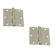National Hardware S808-063 Stanley 3-1/2 Inch Square Corner Door Hinges Satin Nickel 2 Pack