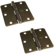 National Hardware S808-170 Stanley Door Hinges 3-1/2 Inch 1/4 Radius Antique Brass 2 Pack