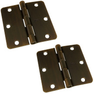 National Hardware S808-188 Stanley 3-1/2 Inch 1/4 Radius Door Hinges Antique Bronze 2 Pack