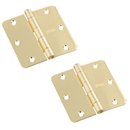 National Hardware S808-279 S082-470 Stanley Door Hinges 3-1/2 Inch 1/4 Radius Polished Brass 2 Pack