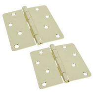 National Hardware S810-085 Stanley Door Hinges 4 Inch 1/4 Radius Polished Brass 2 Pack