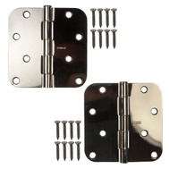 National Hardware S810-119 Stanley Door Hinges 4 Inch 5/8 Radius Black Chrome 2 Pack