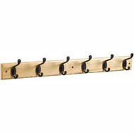 National Hardware S827-089 = S812-982 Hook Rail 27 Inch 6 Oil Rubbed Bronze Hooks Oak Finish Rail