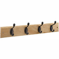 National Hardware S813-022 S827-139 Stanley Hook Rail 18 Inch 4 Oil Rubbed Bronze Hooks Oak Finish Wood Rail