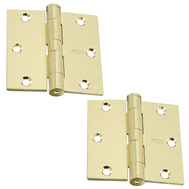 National Hardware S820-548 Stanley Commercial Door Hinges 3-1/2 Inch Square Corner Polished Brass 2 Pack
