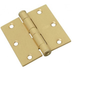 National Hardware S820-555 Stanley Commercial Door Hinges 3-1/2 Inch Square Corner Satin Brass 2 Pack