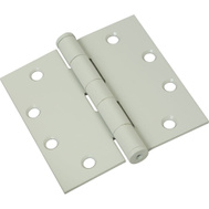 National Hardware S820-746 Stanley Commercial Door Hinges 4-1/2 Inch Square Corner Prime Coat White 3 Pack