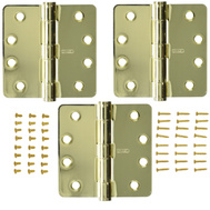 National Hardware S820-803 Stanley Commercial Door Hinges 4 Inch 1/4 Radius Polished Brass 3 Pack