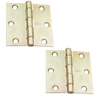 National Hardware S821-124 N186-908 Stanley Door Hinges 3 Inch Square Corner Satin Brass 2 Pack